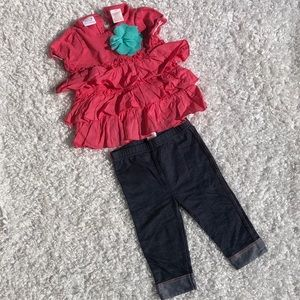 Truly scrumptious size 24M pink top. W/ leggings
